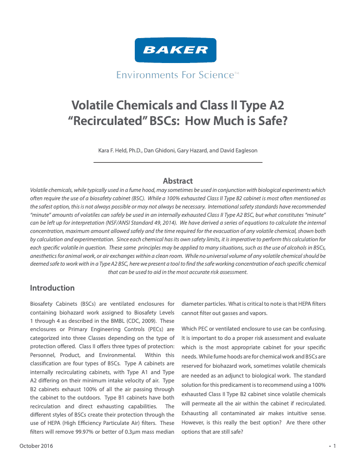 "Thumbnail Volatile Chemicals and Class II Type A2 ""Recirculated"" BSCs How Much is Safe?"